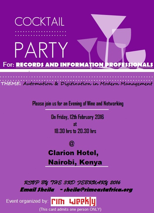 RIM Cocktail Invite Card- RIM Professionals are free to atted. Drop an email to sheila@rimeastafrica.org to confirm attendance