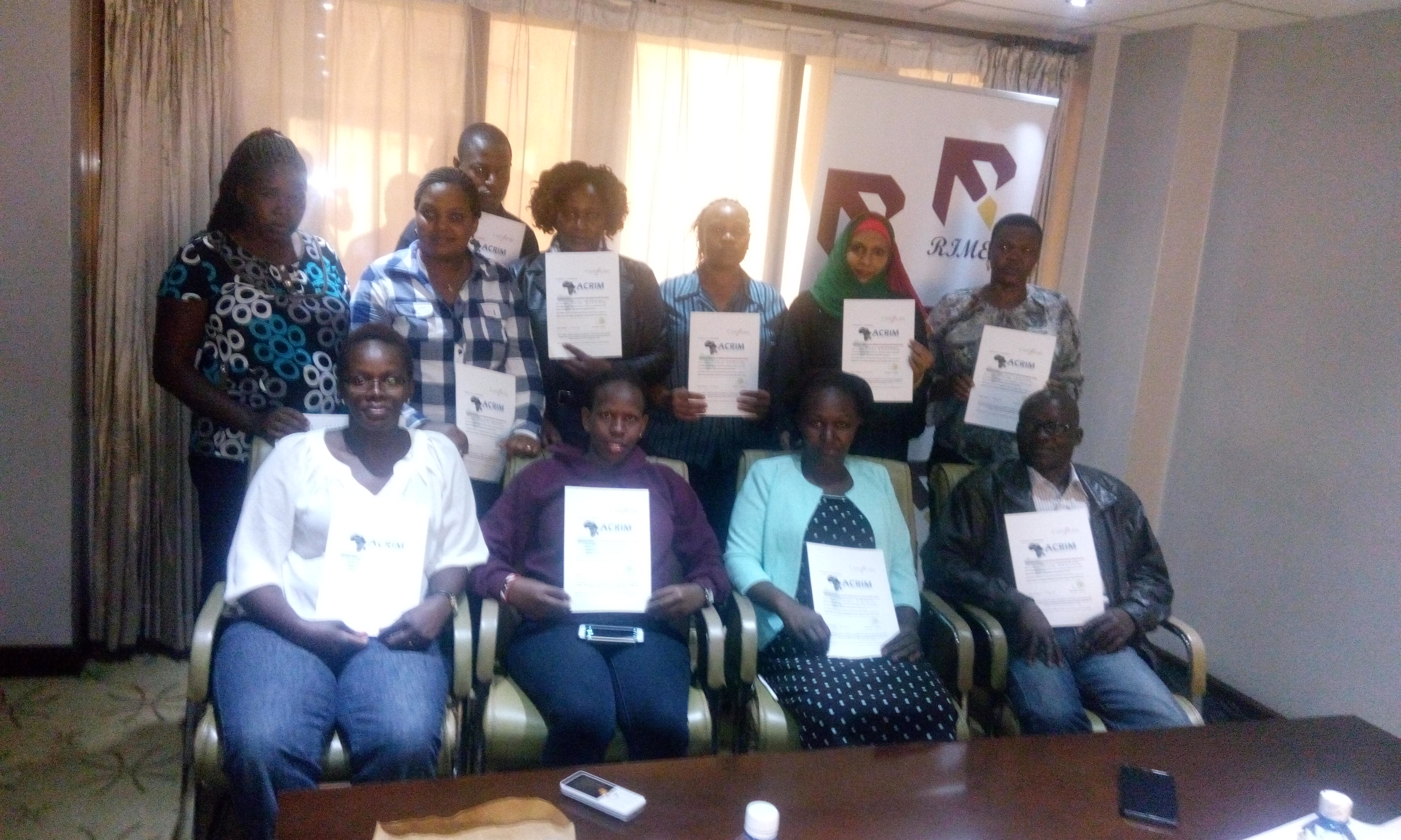 Administrative Officers from Tourism Fund upon completion of the 4 days Certified RIM-Basic Level course that was held at the Clarion Hotel, Nairobi, Kenya from 9th to 13th May 2016