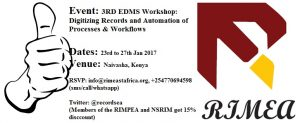 3RD EDMS Workshop: Digitizing Records and Automation of Processes & Workflows