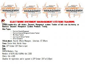 Electronic Document Management Systems Training 28th October 2017