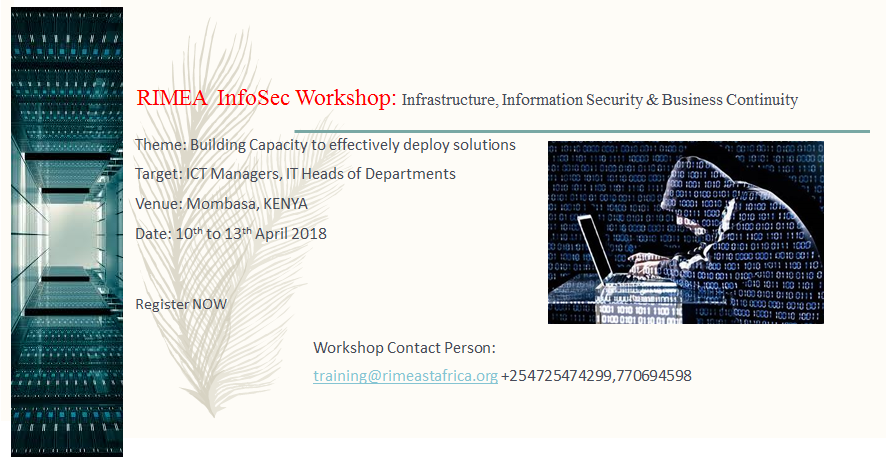 Infosec April 2018:Infrastructure, Information Security and Business Continuity Planning Workshop