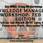 5th KM- 5 Day Knowledge Management Workshop, Feb 2019 Edition