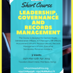 Short Course on Leadership, Governance and Records Management