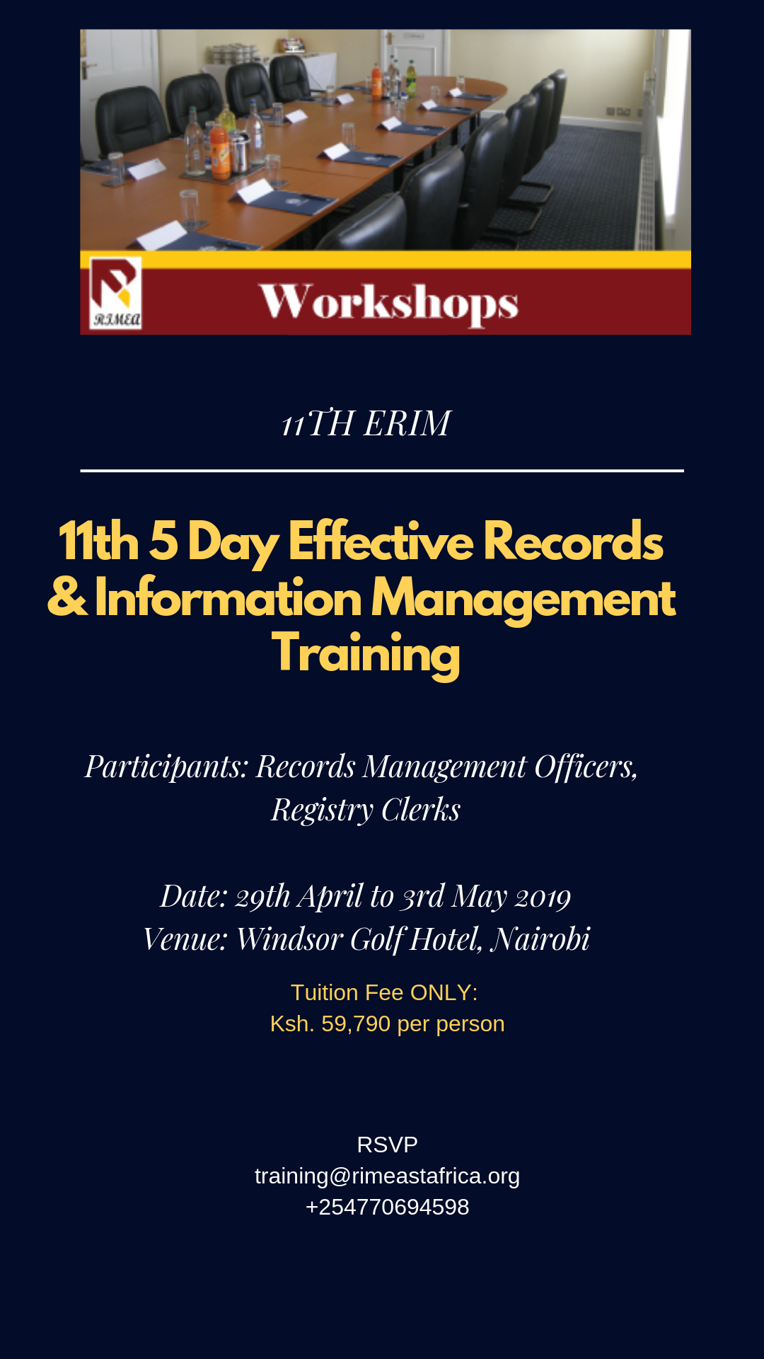 11th 5 Day Effective Records & Information Management Training