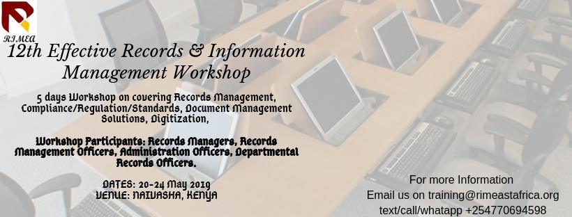 12th Effective Records & Information Management Workshop