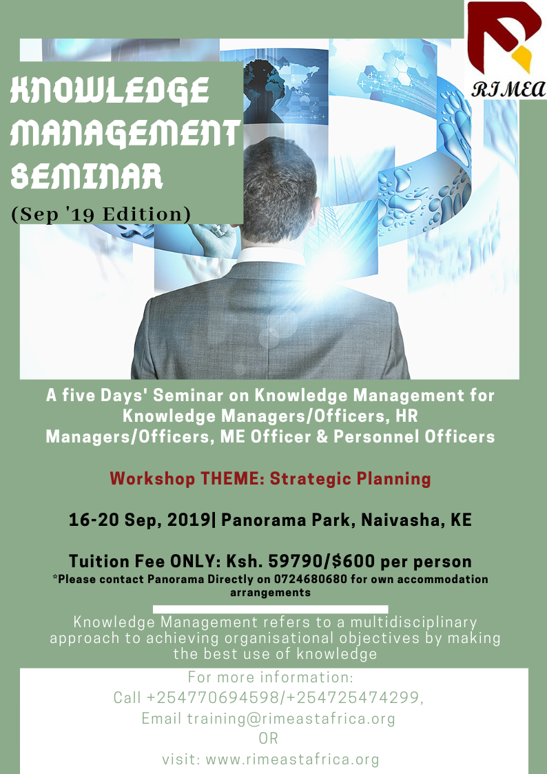 Knowledge Management Seminar- Sep 2019(Theme- Strategic Planning in Knowledge Management)
