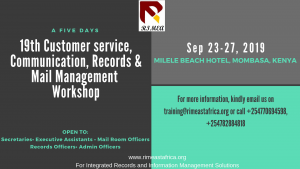 19th Customer service, Communication, Records & Mail Management Workshop