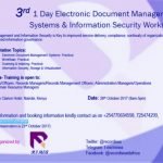 3rd 1 Day Electronic Document Management Systems & Information Security Workshop
