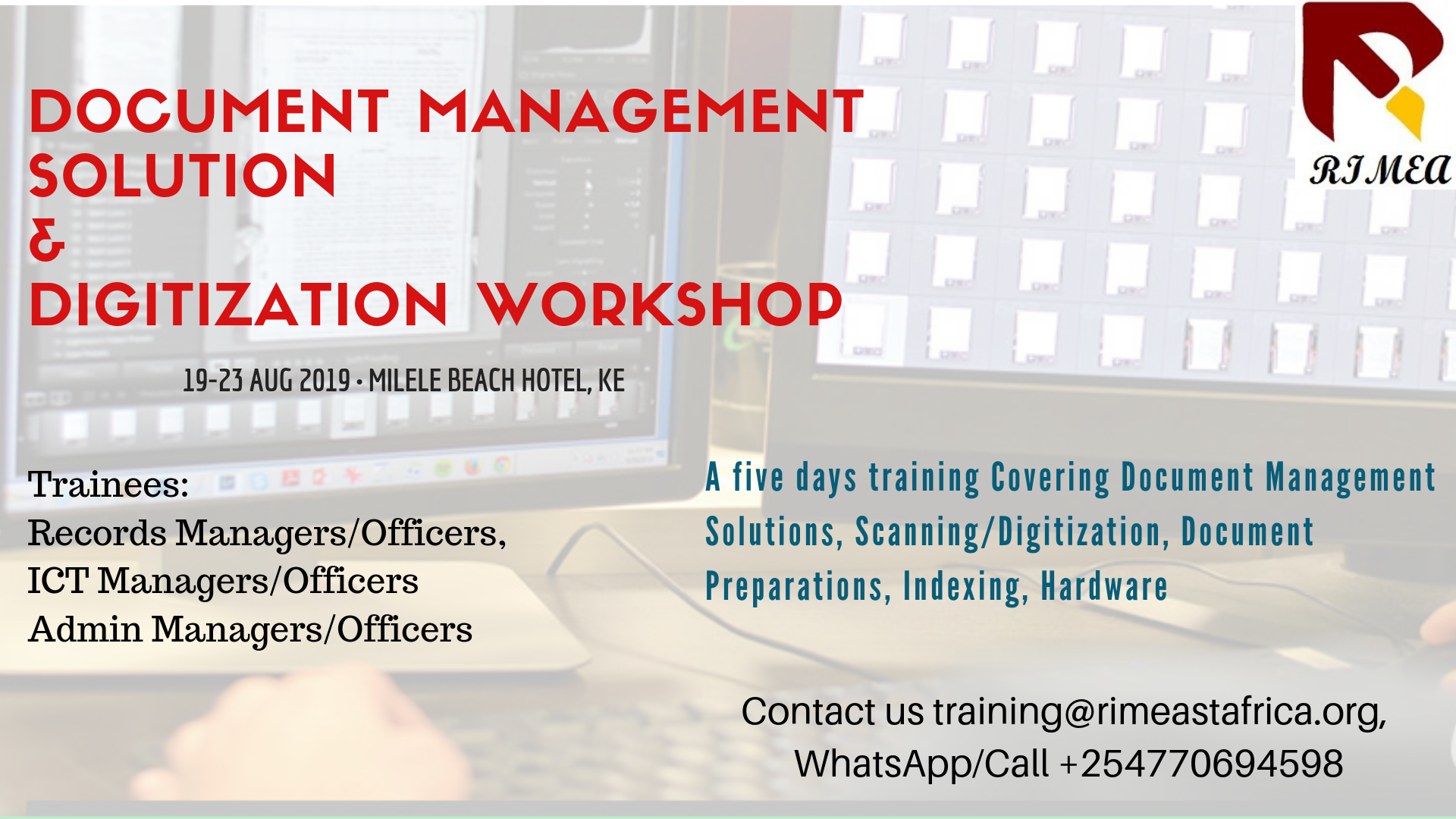 5 Days EDMS Workshop: Digitizing Records and Automation of Processes